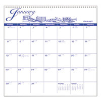 At-A-Glance G100017 11 3/4 inch x 12 inch Illustrator's Edition Monthly January 2019 - December 2019 Wirebound Wall Calendar