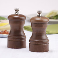 Chef Specialties 04102 Professional Series 4 inch Customizable Capstan Walnut Pepper Mill and Salt Mill Set