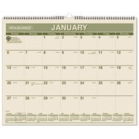 At-A-Glance PMG7728 12 inch x 15 inch Green Monthly January 2019 - December 2019 Wirebound Wall Calendar