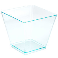 Fineline 6411-GRN Tiny Temptations 2 oz. Green Plastic Cube Bowl - 20/Pack