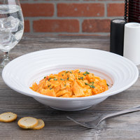 Elite Global Solutions DS105PB-W Swirl 21 oz. White Melamine Pasta / Soup Bowl - 6/Case