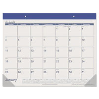 At-A-Glance SK2517 22 inch x 17 inch Blue Monthly January 2019 - December 2019 Desk Pad Calendar
