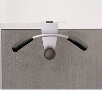 Alba PMMOUSPART 15 inch x 4 1/2 inch x 7 7/8 inch Silver / Black Hanger-Shaped Partition Coat Hook