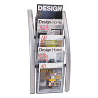 Alba DDICE5M Silver and Translucent 5-Pocket Wall Display Rack - 13 inch x 3 1/2 inch x 28 1/2 inch