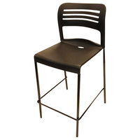 Alera Plus AAPBS612 CL Series Black Counter Height Stackable Stool with Back - 2/Case