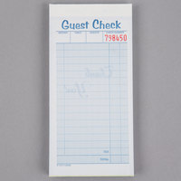 Adams 10450SW 2-Part White / Canary Carbonless Guest Check Book - 10/Pack