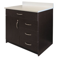 Alera AAPBR103ES 36 inch x 24 3/4 inch x 40 inch Espresso/White Hospitality Base Cabinet with Four Drawers and Door
