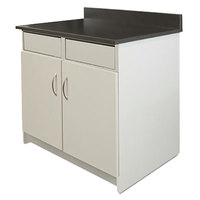 Alera Plus AAPBR104GY 36 inch x 25 inch x 40 inch Gray Hospitality Base Cabinet with Two Doors and Two Flipper Panels