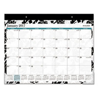 At-A-Glance SK93704 22 inch x 17 inch 2019 Black and White Design Madrid Desk Pad