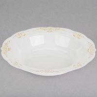 Fineline 5901-BOG Heritage 10 oz. Bone / Ivory Plastic Bowl with Gold Trim - 10/Pack