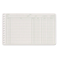 Adams ARB58100 5 inch x 8 1/2 inch Green / White Ledger 6-Ring Binder Refill Sheets  - 100/Pack