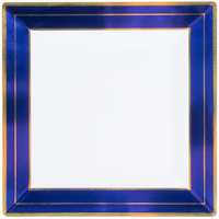 Fineline 5510-WHBG Silver Splendor 10 inch Square White Plastic Plate with Blue Rim and Gold Bands - 10/Pack