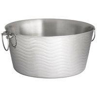 Tablecraft WBT199 Wave Round Stainless Steel Double-Walled Beverage Tub - 19 inch x 9 inch