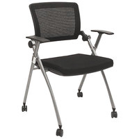 Alera AAPFL274 Black / Gray Stackable Mesh Arm Chair with Casters - 2/Case
