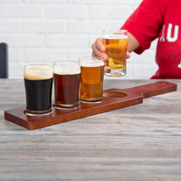 Acopa Tasting Flight Set - 4 Pub Sampler Glasses with Red-Brown Wood Taster Paddle