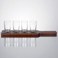 Core Beer Flight Set - 4 Pub Taster Glasses with Red-Brown Finish Wood Paddle