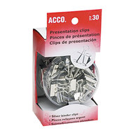 Acco 71138 Assorted Size Silver Metal Presentation Clips - 30/Box