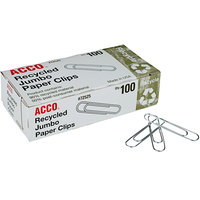 Acco 72525 Silver Smooth Jumbo Recycled Paper Clips - 100/Box