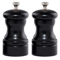 Chef Specialties 4502 Professional Series 4 inch Capstan Ebony Customizable Pepper Mill and Salt Mill Set