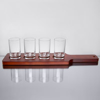 Core Beer Flight Set - 4 Sampler Glasses with Red-Brown Finish Wood Paddle