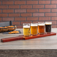 core beer flight set 4 sampler glasses with redbrown finish wood paddle