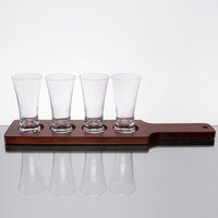 Core Pilsner Beer Flight Set - 4 Sampler Glasses with Red-Brown Finish Wood Paddle