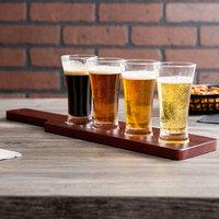 Acopa Tasting Flight Set - 4 Flare Sampler Glasses with Red-Brown Wood Taster Paddle