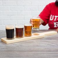 Acopa Tasting Flight Set - 4 Pub Sampler Glasses with Natural Wood Paddle