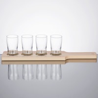 Core Beer Flight Set - 4 Pub Taster Glasses with Natural Finish Wood Paddle