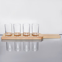Core Beer Flight Set - 4 Sampler Glasses with Natural Finish Wood Paddle