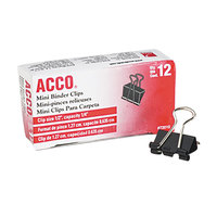 Acco 72010 1/4 inch Capacity Black Mini Binder Clip - 12/Pack