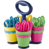 Westcott 14756 School Scissors Caddy with 24 Pairs of 5 inch Blunt Tip Kids Scissors with Antimicrobial Protection