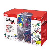 Acco 76233 625-Piece Work Essential Clip and Push Pin Pack