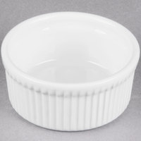 Tuxton BPX-1002 10 oz. Porcelain White Fluted China Souffle / Ramekin - 12/Case