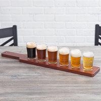 Acopa Tasting Flight Set - 6 Pub Sampler Glasses with Red-Brown Wood Taster Paddle