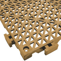 Cactus Mat 2557-ST Poly-Lok 12 inch x 12 inch Tan Vinyl Interlocking Drainage Floor Tile - 3/4 inch Thick