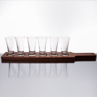 Core Pilsner Beer Flight Set - 6 Sampler Glasses with Red-Brown Finish Wood Paddle