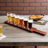Acopa Tasting Flight Set - 6 Flare Sampler Glasses with Red-Brown Wood Taster Paddle