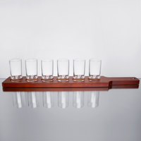 Core Juice / Beer Flight Set - 6 Sampler Glasses with Red-Brown Finish Wood Paddle