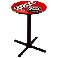 Holland Bar Stool L211B3628GA-DOG-D2 28 inch Round University of Georgia Pub Table