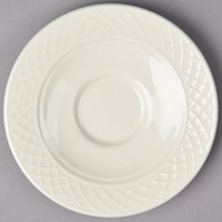 Homer Laughlin 3557000 Gothic 5 5/8 inch Ivory (American White) China Saucer - 36/Case