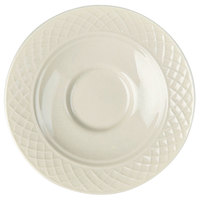 Homer Laughlin 7000-355 Gothic 5 5/8 inch American White (Ivory / Eggshell) China Saucer - 36 / Case