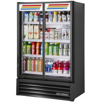 True TVM-36SL-HC~SW01 36 inch Black Slim Line Glass Door Refrigerated Visual Merchandiser