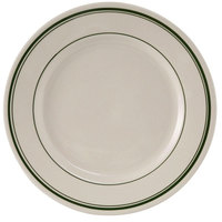 Tuxton TGB-031 Green Bay 6 1/4 inch Eggshell Wide Rim Rolled Edge China Plate with Green Bands - 36/Case