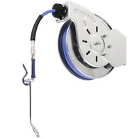 T&S B-7112-10 15' Open Stainless Steel Hose Reel with EB-2322 Extended Spray Wand