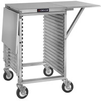 Cres Cor 278-PT-1818-DS 18 Pan End Load Half Height Aluminum Bun / Sheet Pan Rack / Mobile Work Station with Corrugated Sidewalls, Stainless Steel Top, and Drop Shelves - Assembled