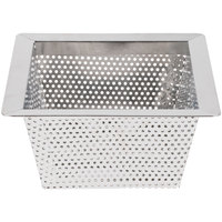 10 inch x 10 inch x 5 inch Flanged Stainless Steel Floor Drain Strainer with 3/16 inch Perforations
