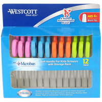 Westcott 14873 5 inch Stainless Steel Blunt Tip Kids Scissors with Antimicrobial Protection and Soft Handle - 12/Pack