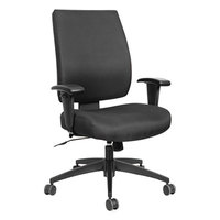 Alera ALEHPS4201 Wrigley Mid-Back Multifunction Black Fabric Office Chair with Adjustable Arms, Synchro-Tilt, and Black Swivel Nylon Base