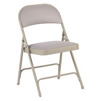 Alera ALEFC97T Tan Steel Folding Chair with Tan Fabric Back and Seat - 4/Case